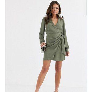ASOS DESIGN Collared Wrap Mini Dress Khaki Green